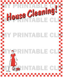 Vintage House Cleaning Border